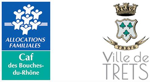Logo CAF et logo de la ville de Trets